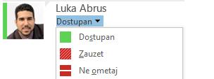 Snimka zaslona padajućeg popisa za promjenu statusa prisutnosti s djelomičnim popisom ponuđenih mogućnosti