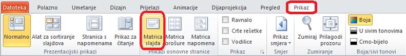 Kartica Prikaz u programu PowerPoint, gdje se možete prebaciti na prikaz matrice slajdova