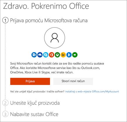 Pokazuje stranicu setup.office.com na kojoj aktivirate ključ proizvoda
