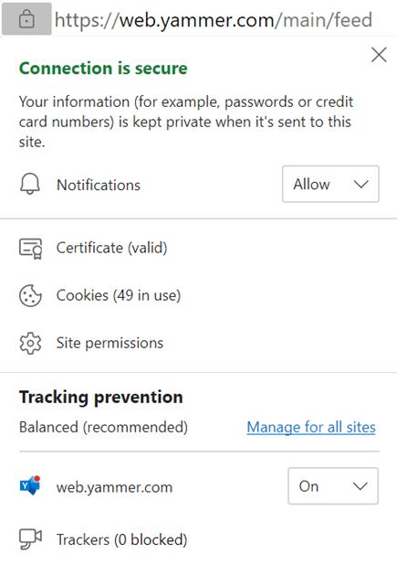 Snimka zaslona s prikazom omogućivanja postavki obavijesti preglednika