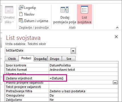 List svojstava na kojem se svojstvo zadane vrijednosti prikazuje postavljeno na Date().