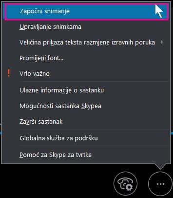 Tijekom sastanka Skypea za tvrtke kliknite Započni snimanje