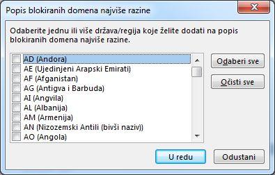 dijaloški okvir popis blokiranih domena najviše razine