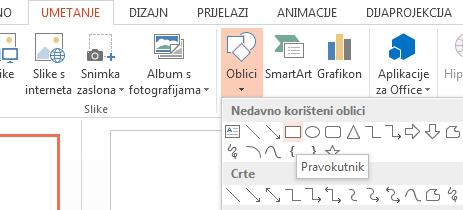 U odjeljku Oblici u grupi Ilustracije možete odabrati oblik, npr. pravokutnik.