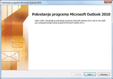 Prozor za pokretanje programa Outlook 2010
