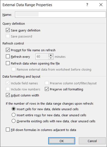 Primjer dijaloškog okvira Svojstva raspona vanjskih podataka