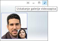 Snimka zaslona s videogalerijom vraćenom u normalan prikaz