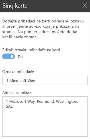 Bing karte Web dio alatnog okvira