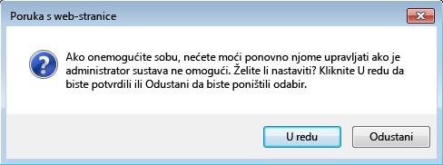 snimka zaslona dijaloškog okvira u kojem se traži da potvrdite onemogućivanje sobe za razgovor