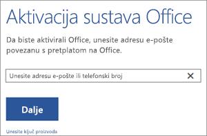 Prikazuje dijaloški okvir Aktivacija u kojemu se možete prijaviti radi aktiviranja sustava Office