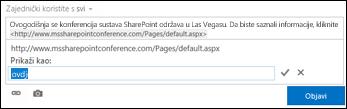 Veza web-stranice oblikovana tekstom za prikaz