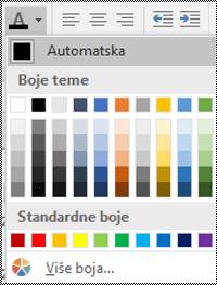 Izbornik boje fonta u programu Excel za Windows na računalima.