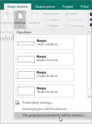 Snimka zaslona mogućnosti Više unaprijed postavljenih veličina stranica na kartici Dizajn stranice u programu Publisher.