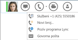 Snimka zaslona na kojoj je prikazana mogućnost upućivanja poziva