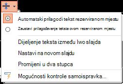 Izbornik mogućnosti automatsko prilagođavanje