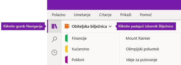 Proširivanje popisa Bilježnice u programu OneNote za Windows 10
