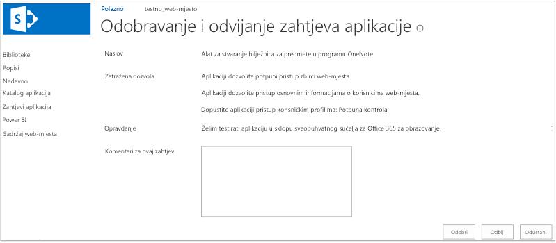 Snimka zaslona s prikazom dijaloškog okvira za odobravanje ili odbijanje zahtjeva za aplikaciju