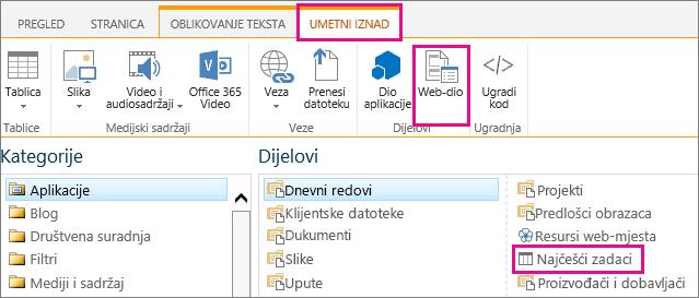 Snimka zaslona s prikazom kako umetnuti web-dio Važni zadaci
