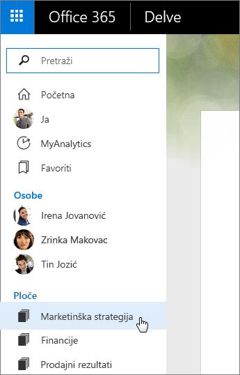 Snimka zaslona s popisom ploča u lijevom oknu servisa Delve.