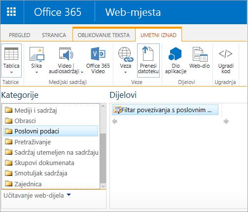 Web-dio Excel Web Access nije u kategoriji poslovnih podataka