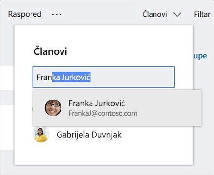 Snimka zaslona s popisom članova prilikom unosa imena novog člana plana.