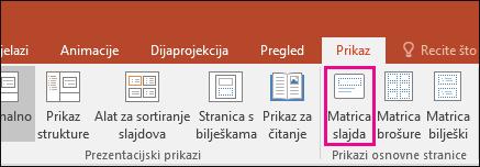 Prikaz gumba matrice slajdova na vrpci u programu PowerPoint