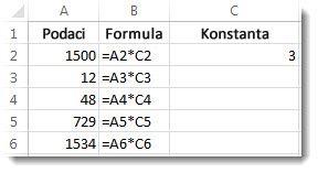 Podaci u stupcu A, formule u stupcu B i broj 3 u ćeliji C2