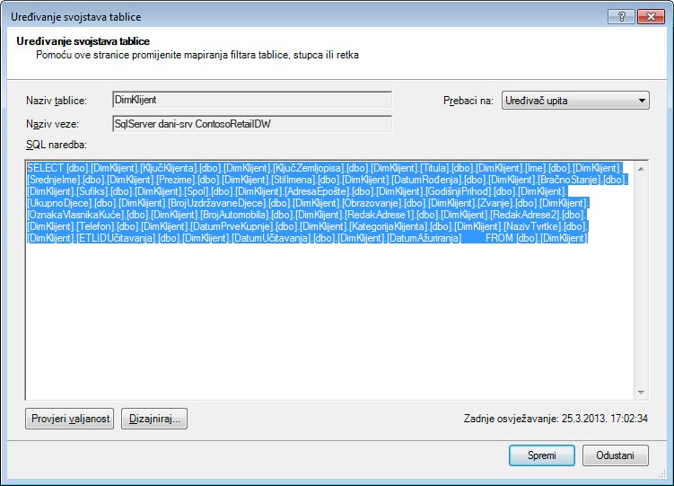SQL upit korišten za dohvaćanje podataka