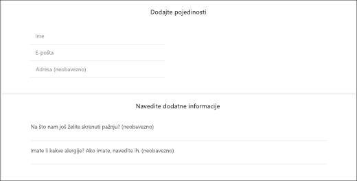Snimke zaslona: prikazuje prilagođene pitanja izgleda za klijenta.