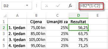 Rezultati postotaka u stupcu D