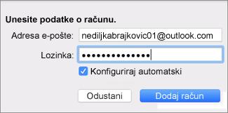 Dodavanje računa e-pošte