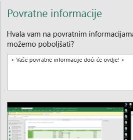 Povratne informacije u dijaloškom okviru programa Excel
