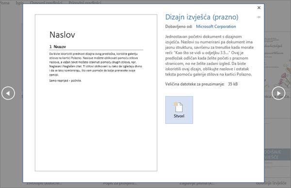 Prikazuje pretpregled predloška za dizajn izvješća u programu Word 2016.