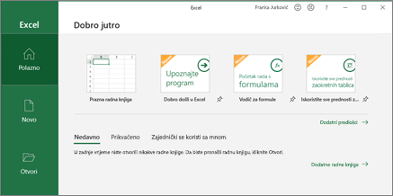 Excel – stvaranje radne knjige