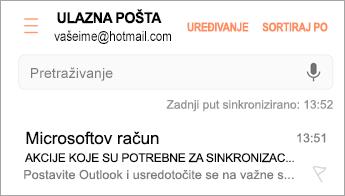 """Otvorite poruku e-pošte u kojoj piše """"Potrebno je poduzeti akciju"""""""