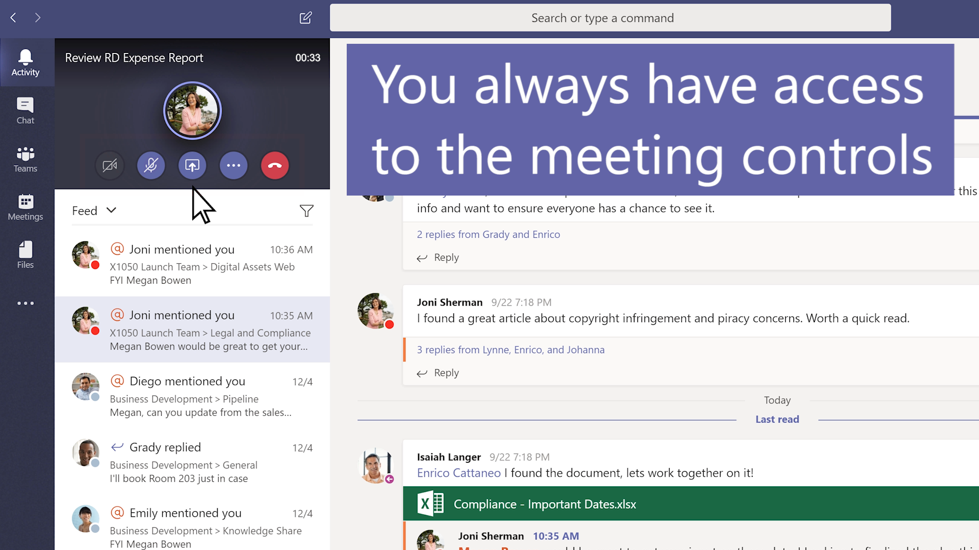 Zaslon sastanka putem servisa Teams