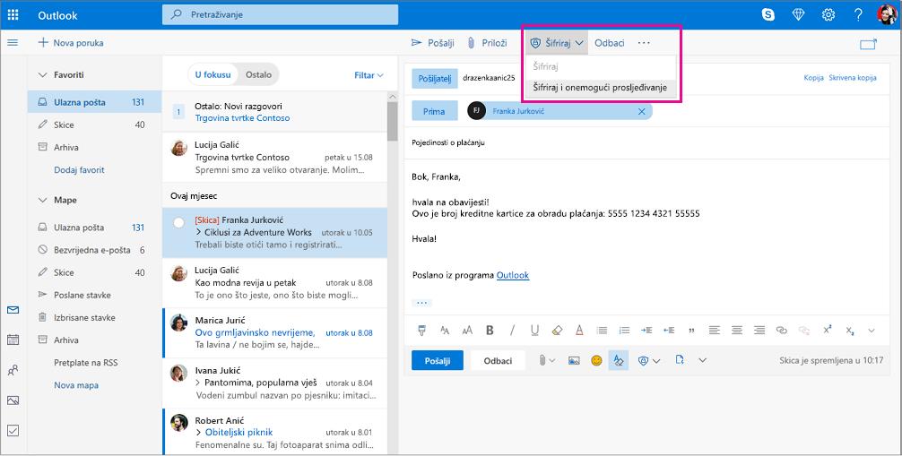 Okno za čitanje programa Outlook s istaknutim mogućnosti šifriranja