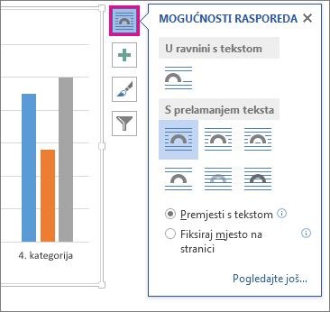 Slika mogućnosti izgleda za grafikone u programu Word