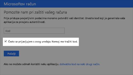 Snimka zaslona dijaloškog okvira pouzdanog uređaja