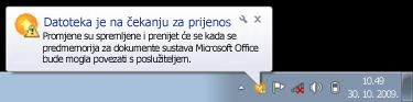 Skočna obavijest komponente Upload Center