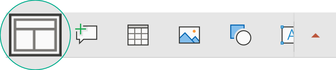Gumb Raspored na plutajućoj alatnoj traci omogućuje vam odabir rasporeda slajda.