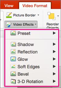 Prikazuje izbornik Video efekti u programu PowerPoint 2016 za Mac