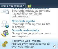 Izbornik web-mjesta Postavke web-mjesta