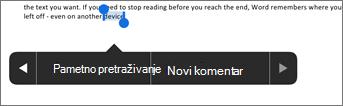 Nakon odabira teksta u programu Word dodirnite novi komentar