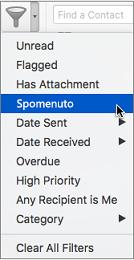 Pomoću mogućnosti Spomenuto na izbornike Filtriraj e-poštu možete potražiti poruke e-pošte u kojima ste @spomenuti