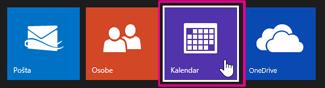 glavni izbornik servisa Outlook.com - odabir kalendara