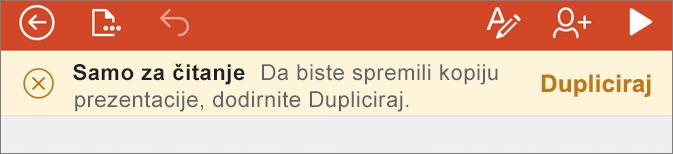 Prikazuje obavijest samo za čitanje nakon otvara ODF datoteke u aplikaciji PowerPoint za iPhone