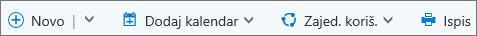 Traka naredbe za kalendar za Outlook.com