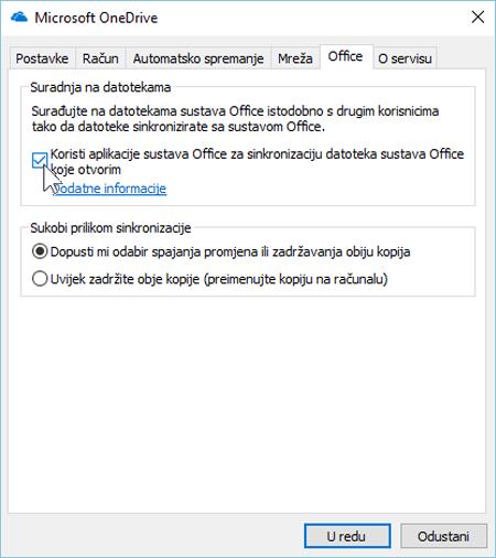 Snimka zaslona na kartici Office u odjeljku postavke za klijent za sinkronizaciju sa servisom OneDrive