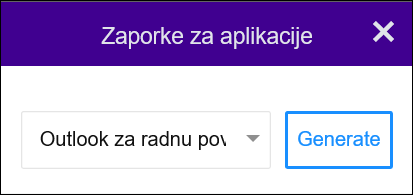 Odaberite Outlook za računala pa Generiraj.